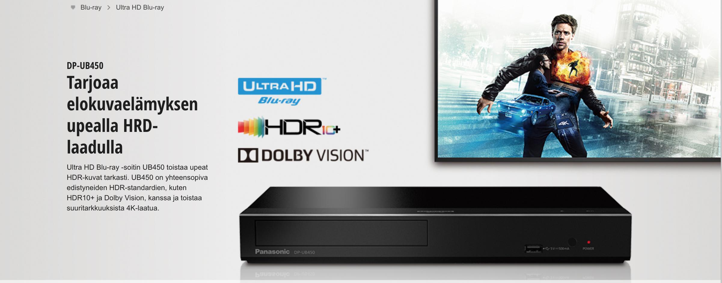 Panasonic DP-UB450 Smart Ultra HD Blu-ray -soitin panasonic.fi
